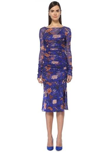 Diane Von Furstenberg Uzun Kollu Çiçekli Şifon Elbise Renkli